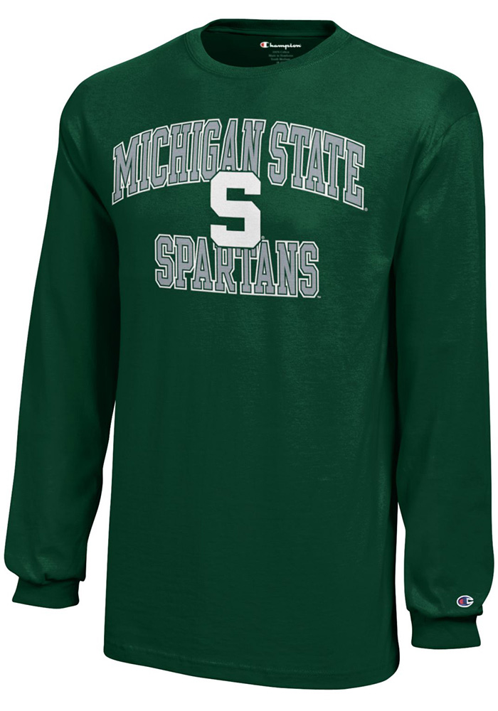 Michigan State Spartans Youth Green Arch Long Sleeve T-Shirt - Image 1