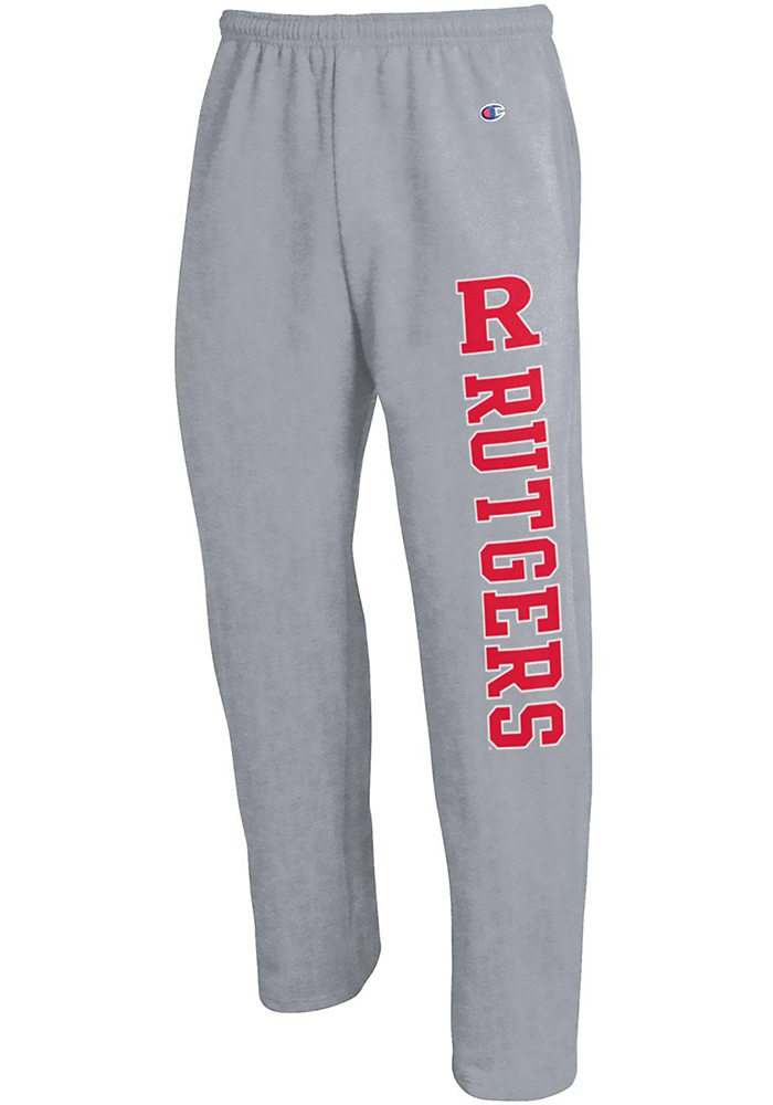 Champion Rutgers Scarlet Knights Mens Grey Open Bottom Sweatpants - Image 1 edc82f4c4
