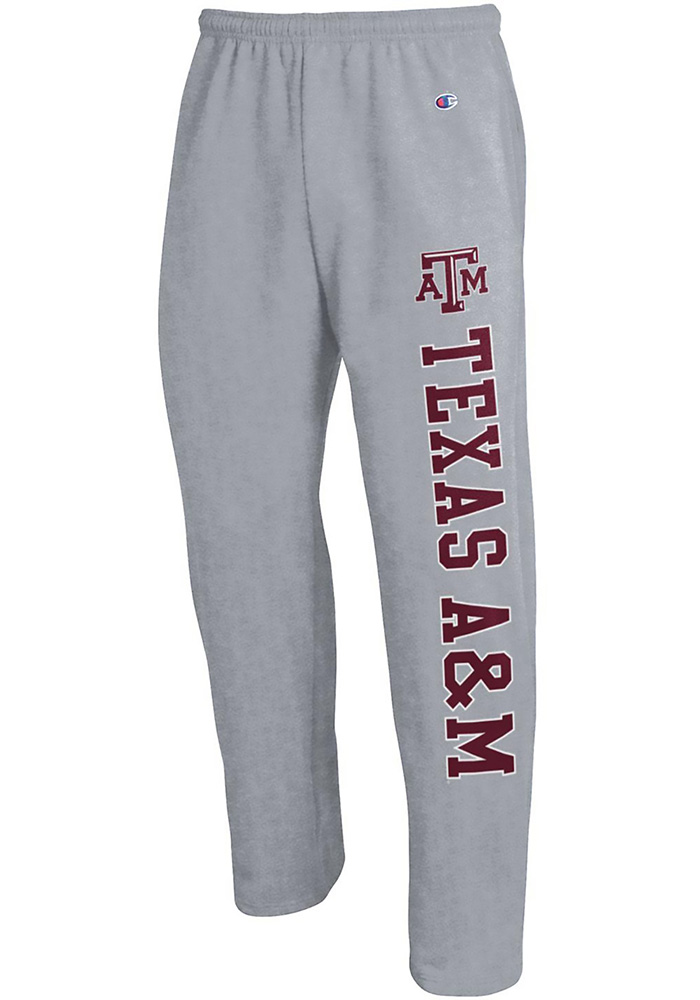 Champion Texas A&M Aggies Mens Grey Open Bottom Sweatpants - Image 1
