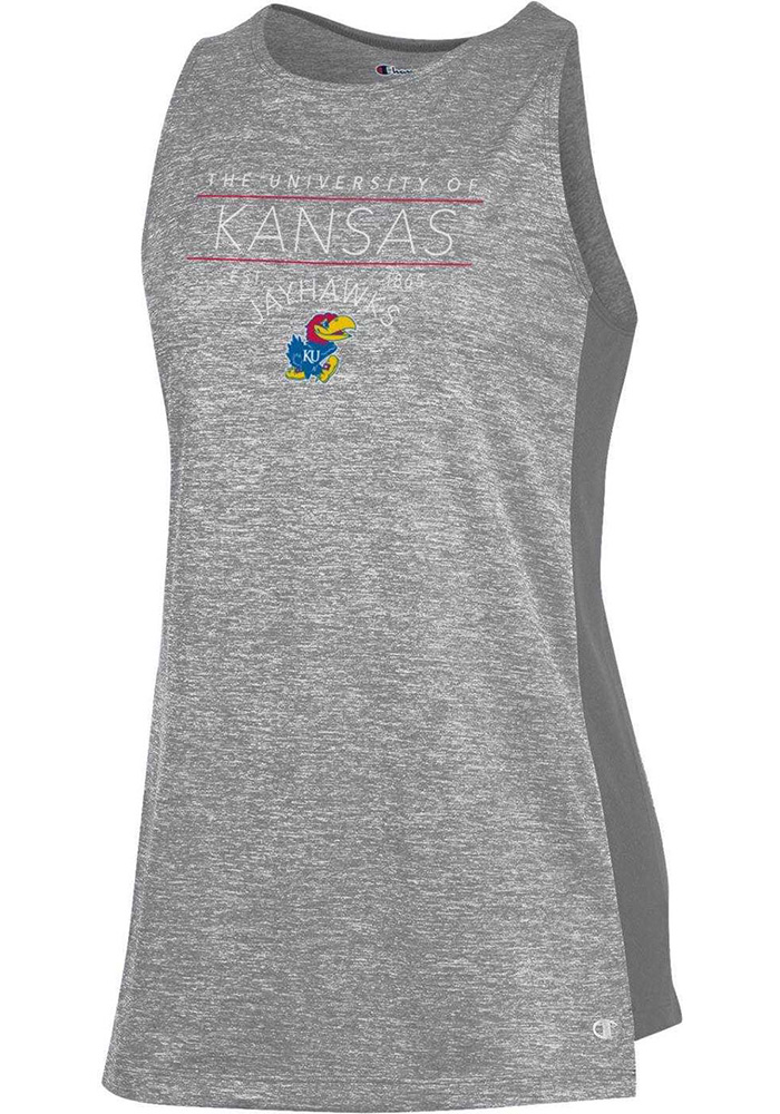 Champion Kansas Jayhawks Womens Grey Marathon III Tank Top - Image 1