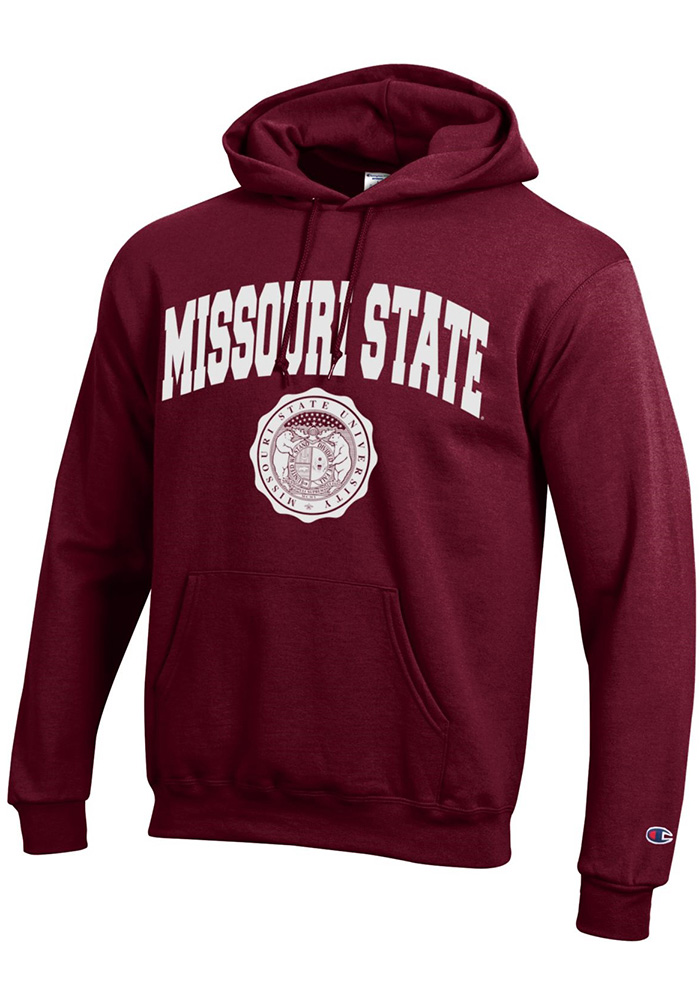 Champion Missouri State Bears Mens Maroon Official Seal Long Sleeve Hoodie - Image 1