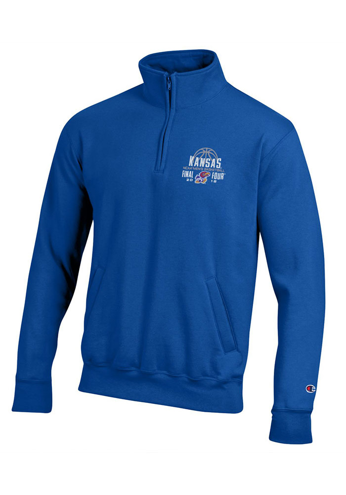 Champion Kansas Jayhawks Mens Blue Embroidery Long Sleeve 1/4 Zip Pullover, Blue, 100% POLYESTER, Size M