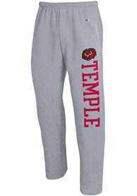 Temple Owls Champion Open Bottom Sweatpants - Grey