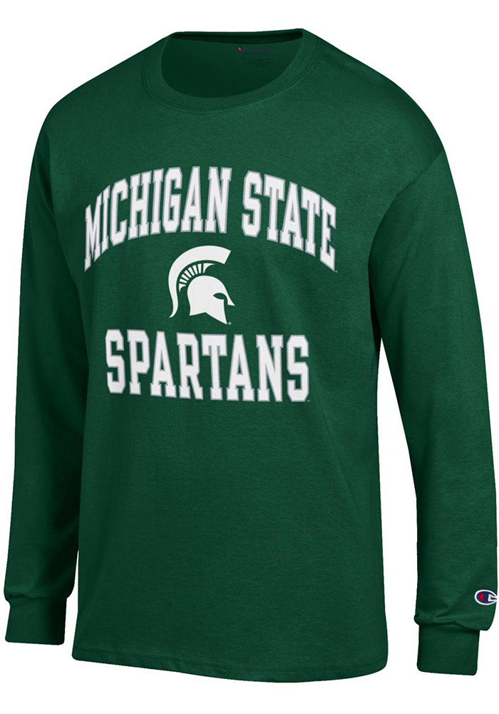 Champion Michigan State Spartans Green #1 Design Long Sleeve T Shirt - Image 1
