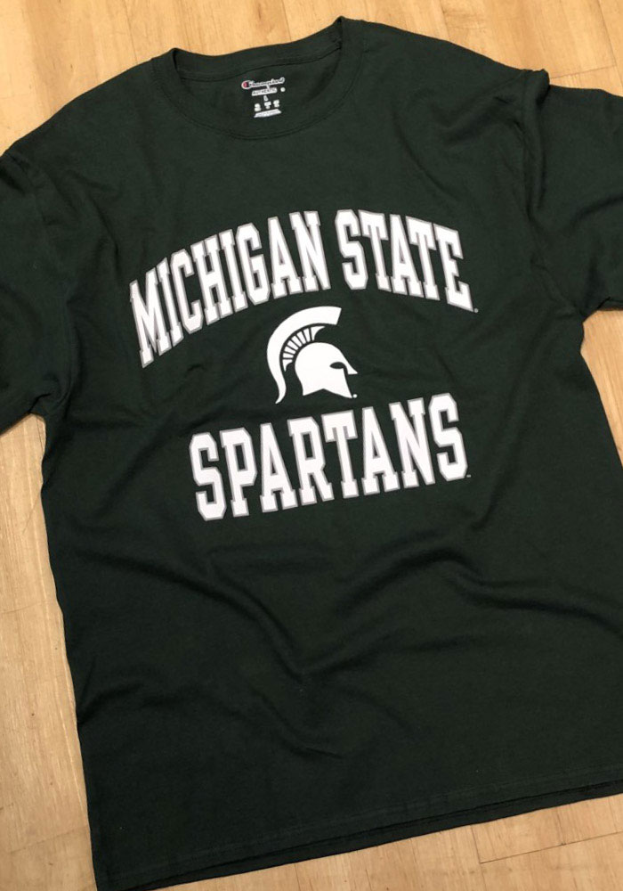 Champion Michigan State Spartans Green #1 Design Long Sleeve T Shirt - Image 2