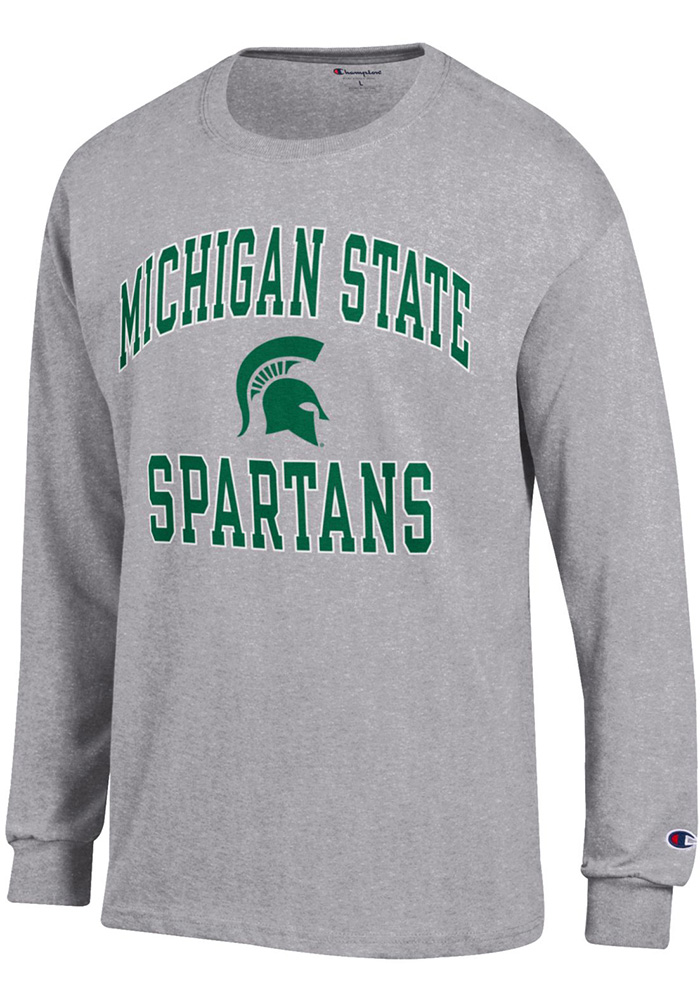 Champion Michigan State Spartans Grey Number One Long Sleeve T Shirt - Image 1
