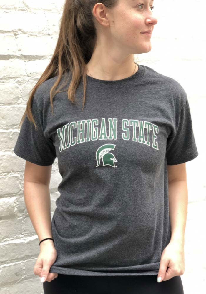 Champion Michigan State Spartans Mens Charcoal Arch Mascot Short Sleeve T Shirt - Image 2