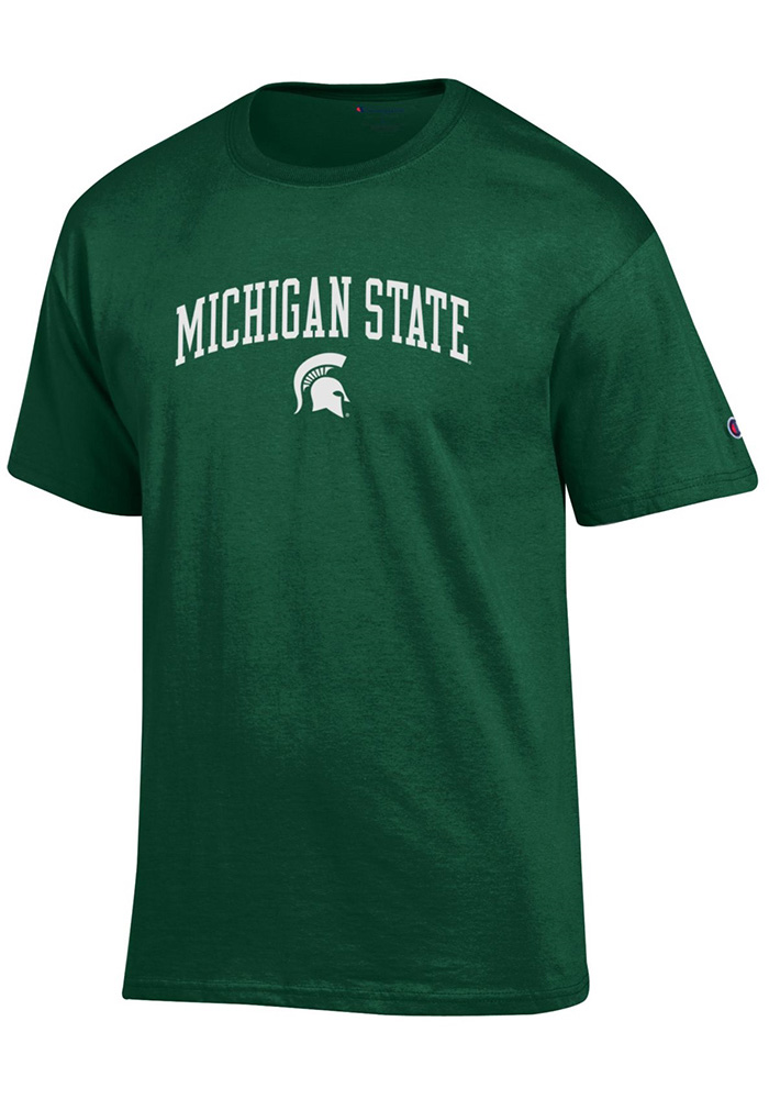 Champion Michigan State Spartans Green ARCH MASCOT Short Sleeve T Shirt - Image 1