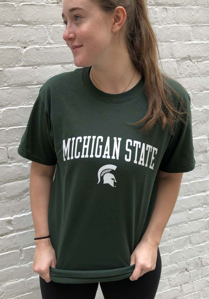 Champion Michigan State Spartans Green Arch Mascot Short Sleeve T Shirt - Image 2