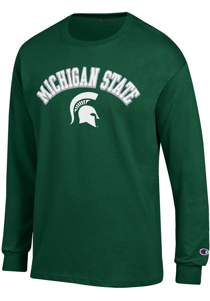 Champion Michigan State Spartans Green Arch Mascot Long Sleeve T Shirt - Image 1