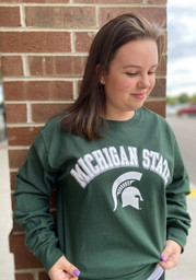 Champion Michigan State Spartans Green Arch Mascot Long Sleeve T Shirt