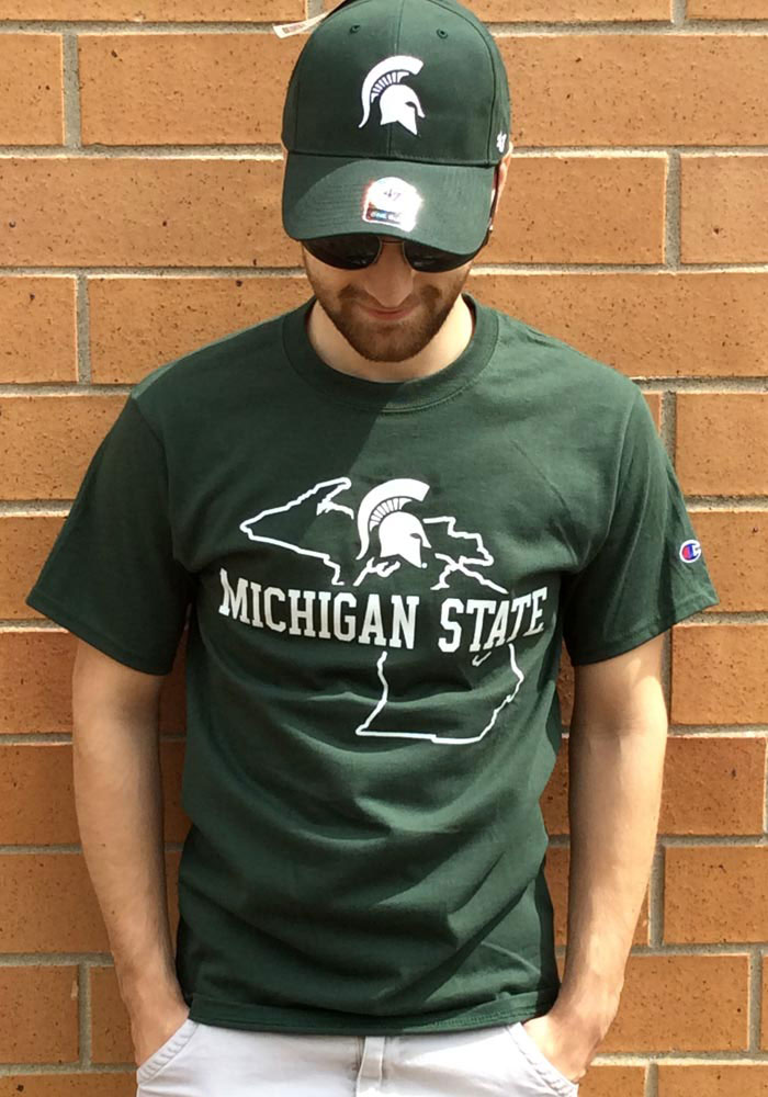 Champion Michigan State Spartans Green State Outline Short Sleeve T Shirt - Image 2