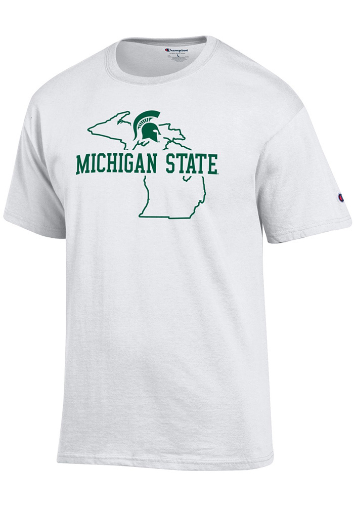 Champion Michigan State Spartans White State Outline Tee