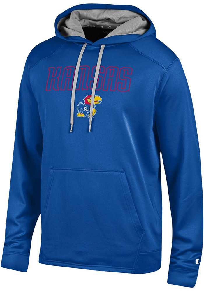 Champion Kansas Jayhawks Mens Blue Athletic Fleece Hood - Image 1
