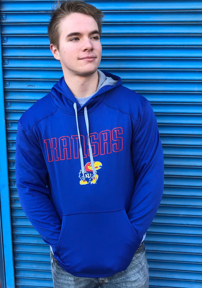Champion Kansas Jayhawks Mens Blue Athletic Fleece Hood - Image 2