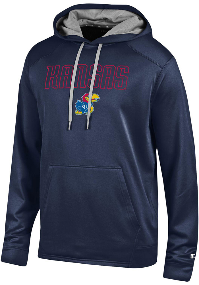 Champion Kansas Jayhawks Mens Navy Blue Athletic Fleece Hood - Image 1