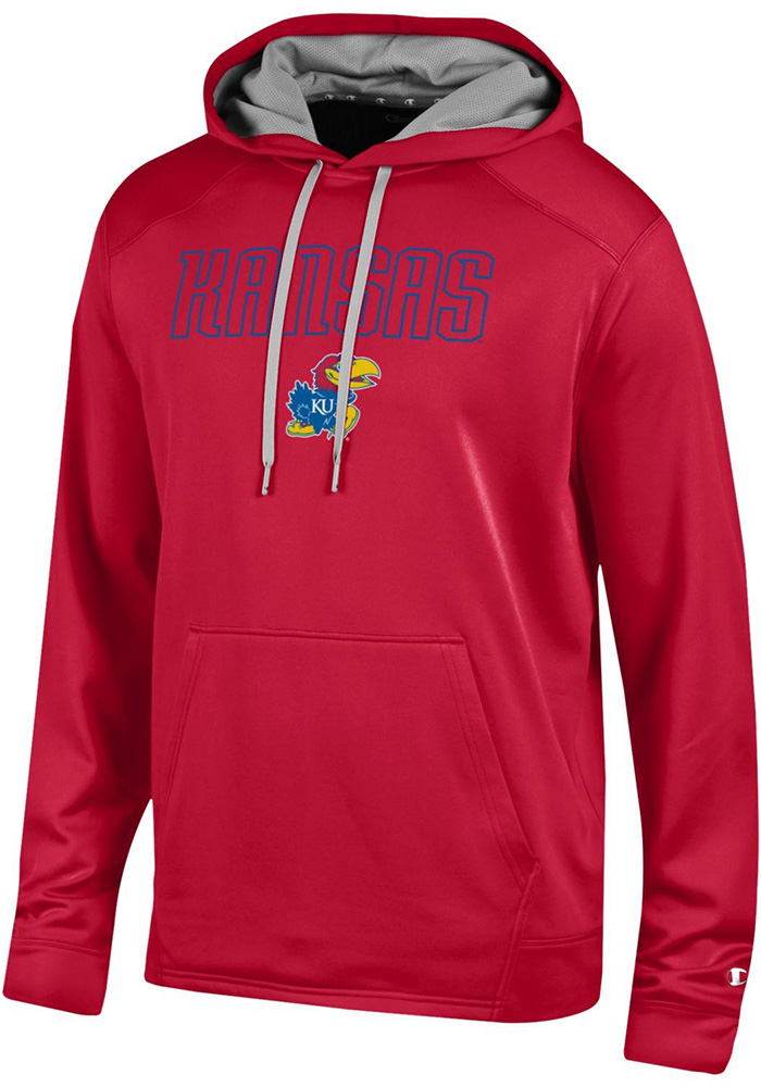 Champion Kansas Jayhawks Mens Red Athletic Fleece Hood - Image 1