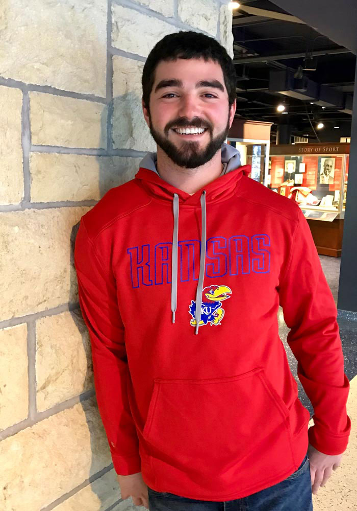 Champion Kansas Jayhawks Mens Red Athletic Fleece Hood - Image 2