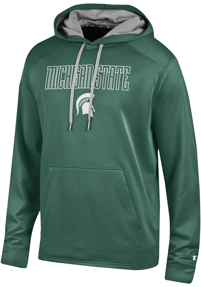 Champion Michigan State Spartans Mens Green Athletic Fleece Hood - Image 1