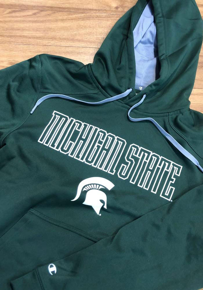 Champion Michigan State Spartans Mens Green Athletic Fleece Hood - Image 2