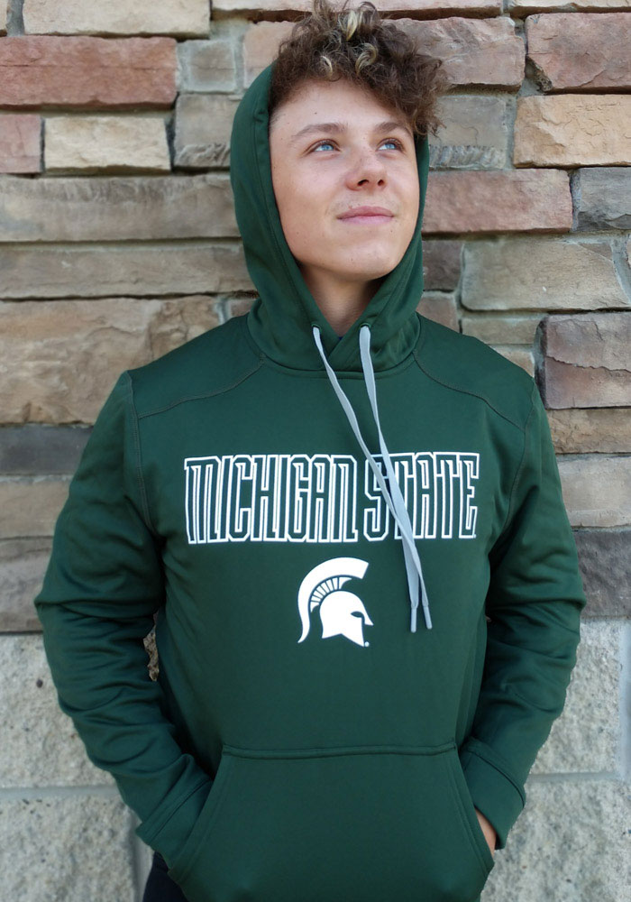 Champion Michigan State Spartans Mens Green Athletic Fleece Hood - Image 3