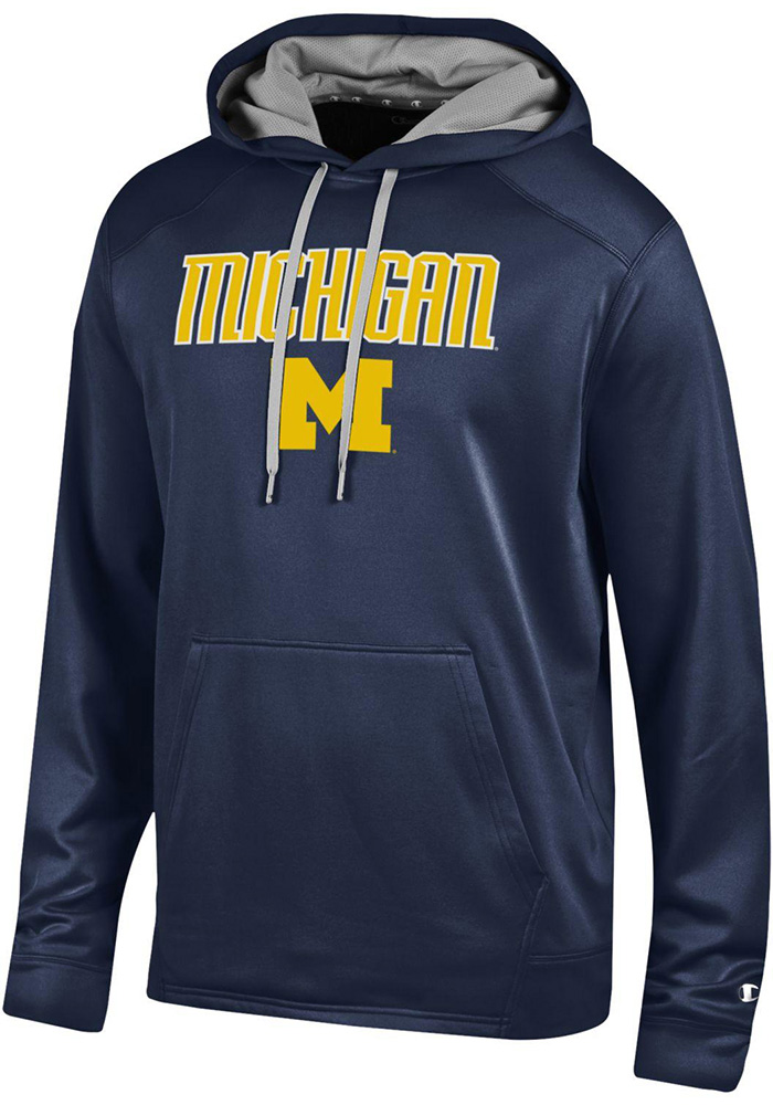 Champion Michigan Wolverines Mens Navy Blue Athletic Fleece Hood - Image 1