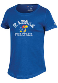 Kansas Jayhawks Girls Champion University Volleyball T-Shirt - Blue