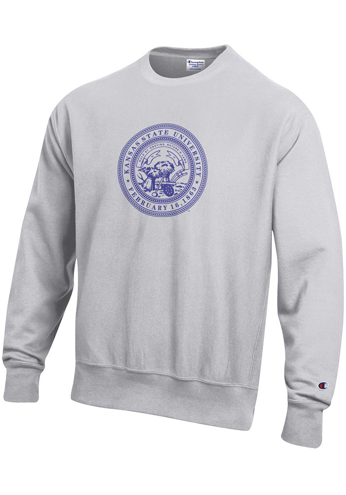 Champion K-State Wildcats Mens Grey Official Seal Long Sleeve Crew Sweatshirt - Image 1
