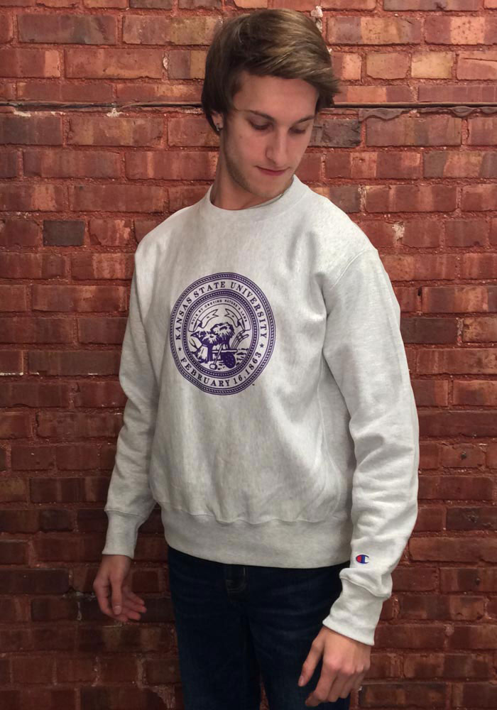 Champion K-State Wildcats Mens Grey Official Seal Long Sleeve Crew Sweatshirt - Image 2