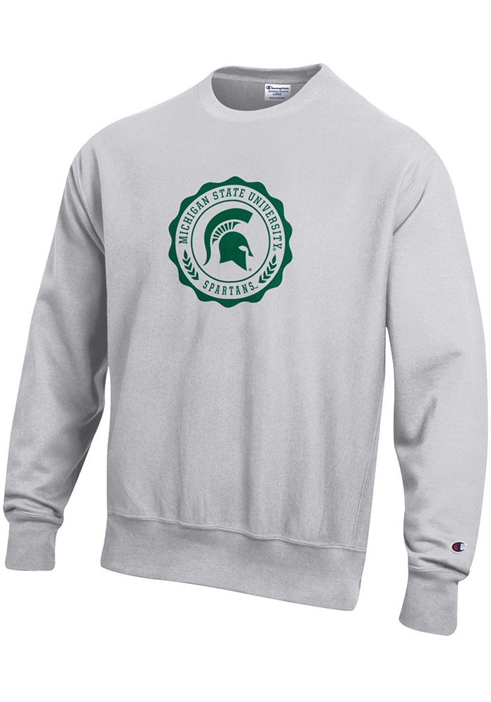 Champion Michigan State Spartans Mens Grey Official Seal Long Sleeve Crew Sweatshirt - Image 1
