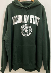 Champion Michigan State Spartans Mens Green Official Seal Long Sleeve Hoodie