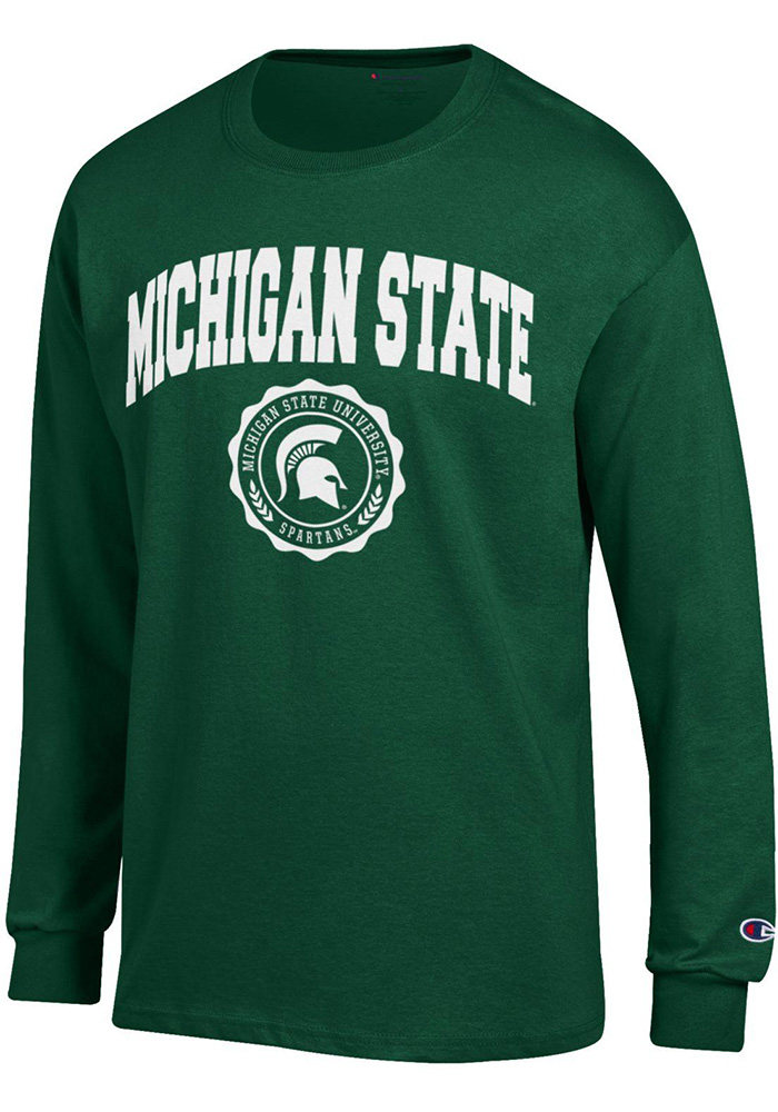 Champion Michigan State Spartans Green Official Seal Long Sleeve T Shirt - Image 1
