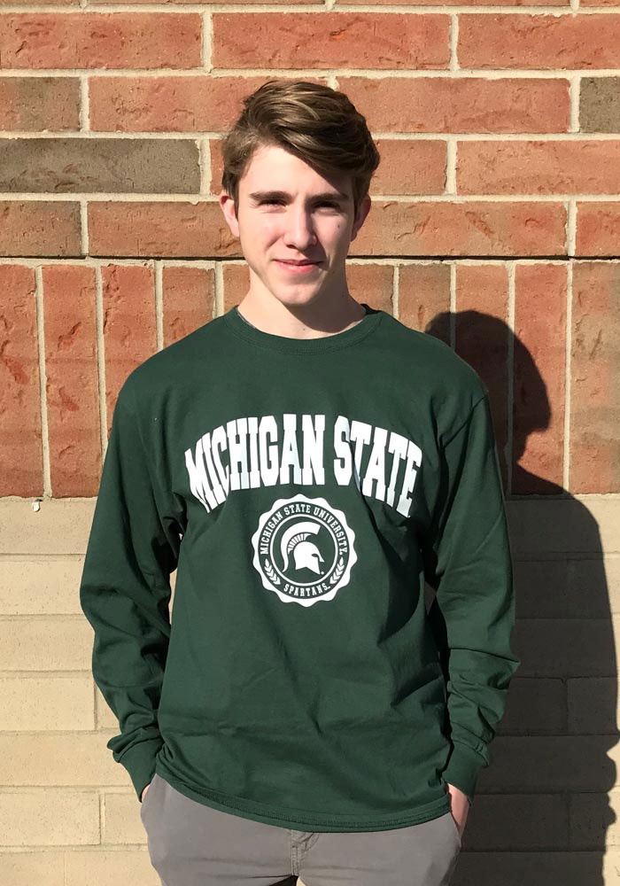 Champion Michigan State Spartans Green Official Seal Long Sleeve T Shirt - Image 2