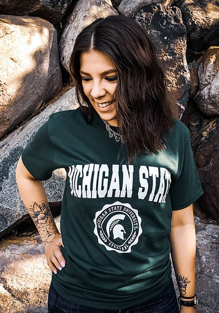 Champion Michigan State Spartans Green Official Seal Short Sleeve T Shirt - Image 2