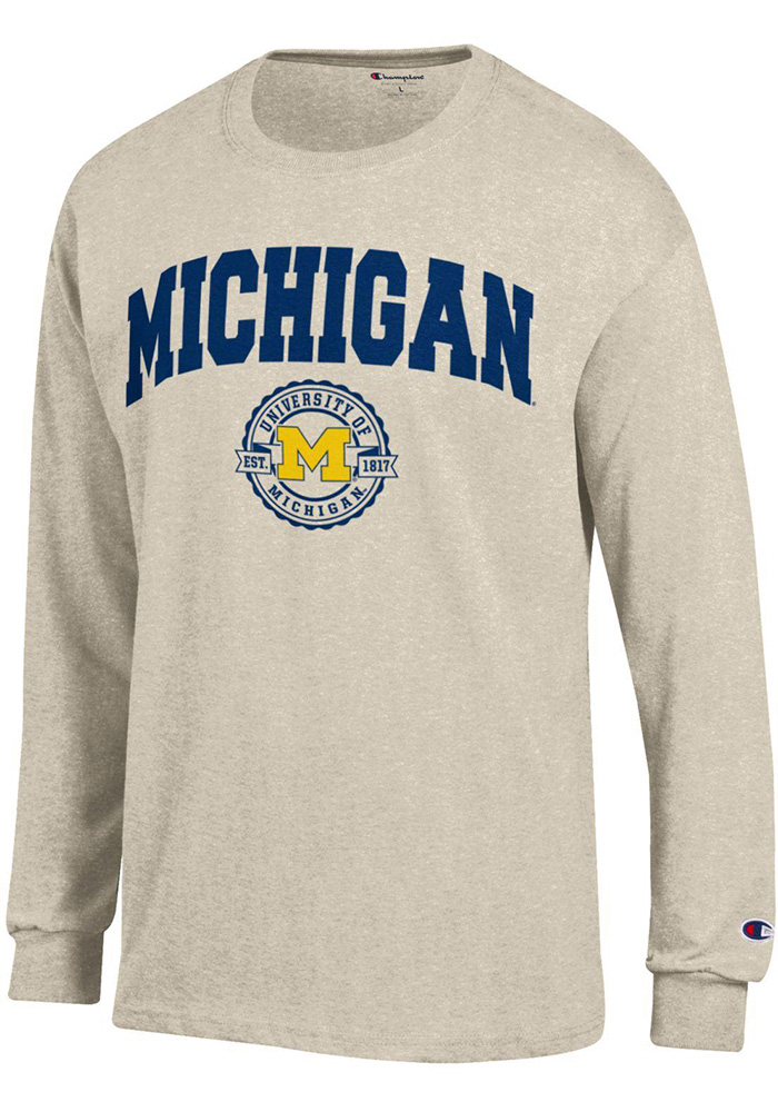 Champion Michigan Wolverines Oatmeal Official Seal Long Sleeve T Shirt - Image 1