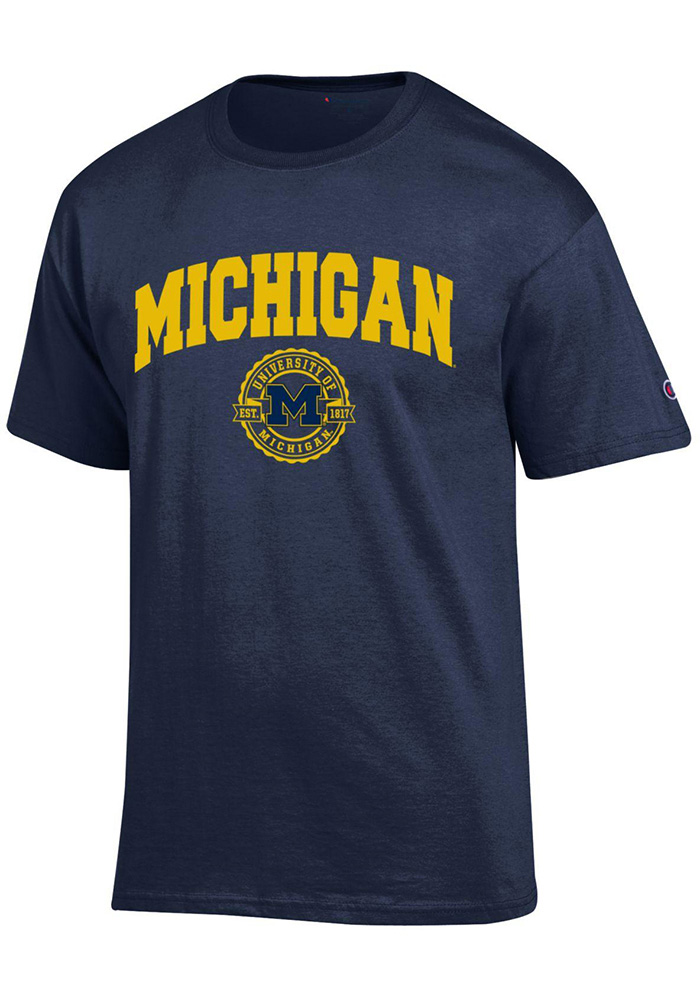 Champion Michigan Wolverines Navy Blue Official Seal Short Sleeve T Shirt - Image 1