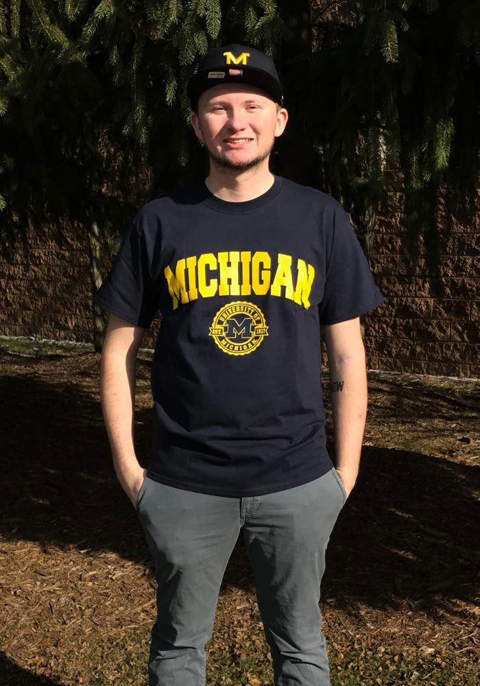 Champion Michigan Wolverines Navy Blue Official Seal Short Sleeve T Shirt - Image 2