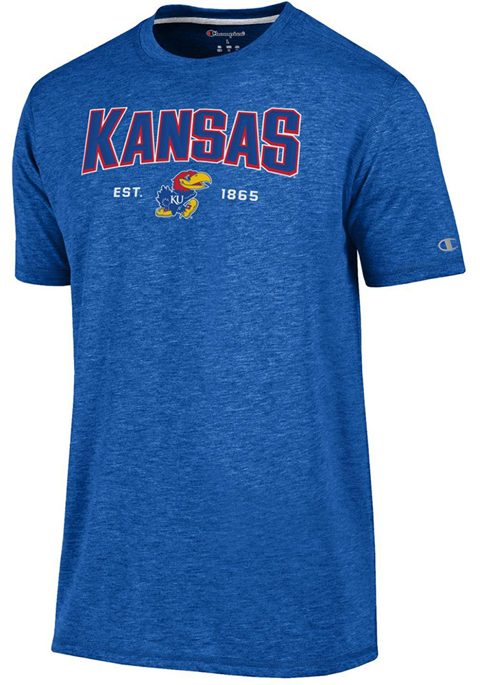 Champion Kansas Jayhawks Blue Touchback Short Sleeve T Shirt - Image 1
