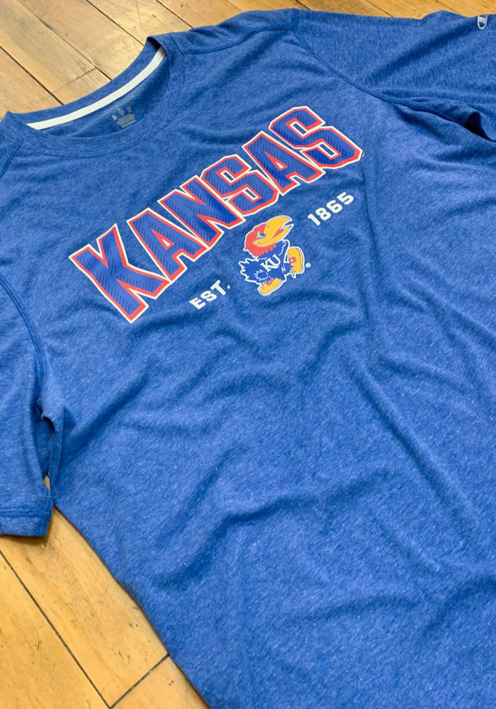Champion Kansas Jayhawks Blue Touchback Short Sleeve T Shirt - Image 2