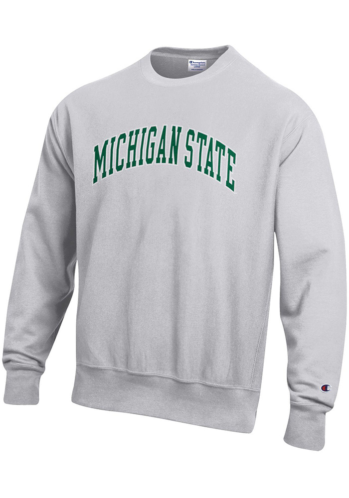 Champion Michigan State Spartans Mens Grey Reverse Weave Long Sleeve Crew Sweatshirt - Image 1