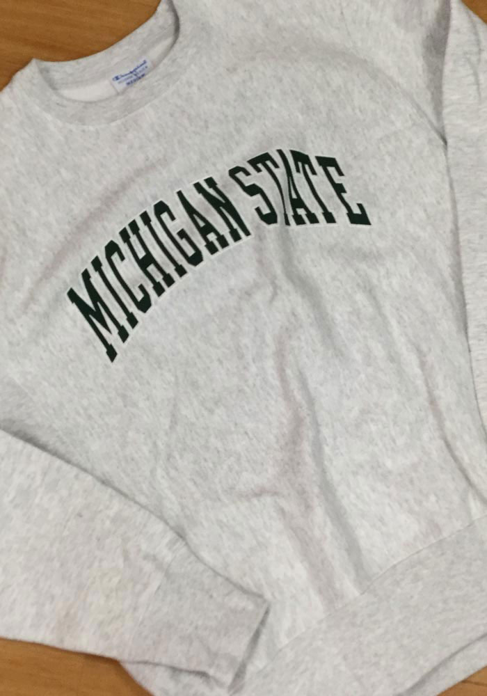 Champion Michigan State Spartans Mens Grey Reverse Weave Long Sleeve Crew Sweatshirt - Image 2