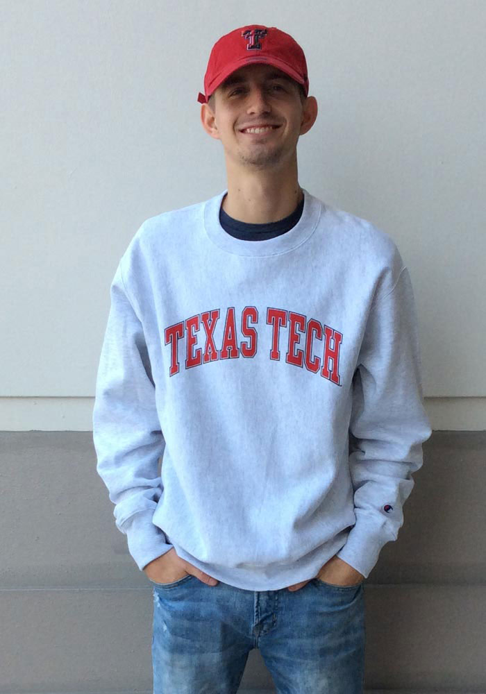 0d1715a9 Champion Texas Tech Red Raiders Mens Grey Reverse Weave Long Sleeve Crew  Sweatshirt
