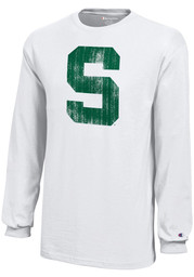 Champion Michigan State Spartans Youth White Distressed Logo Long Sleeve T-Shirt