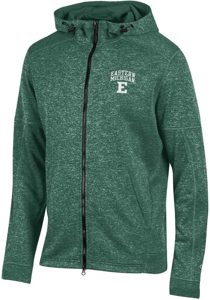 Champion Eastern Michigan Eagles Mens Green Spark Long Sleeve Zip - Image 1