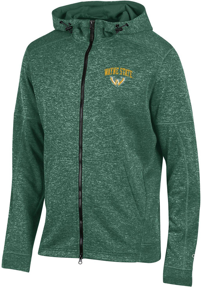 Champion Wayne State Warriors Mens Green Spark Long Sleeve Zip - Image 1