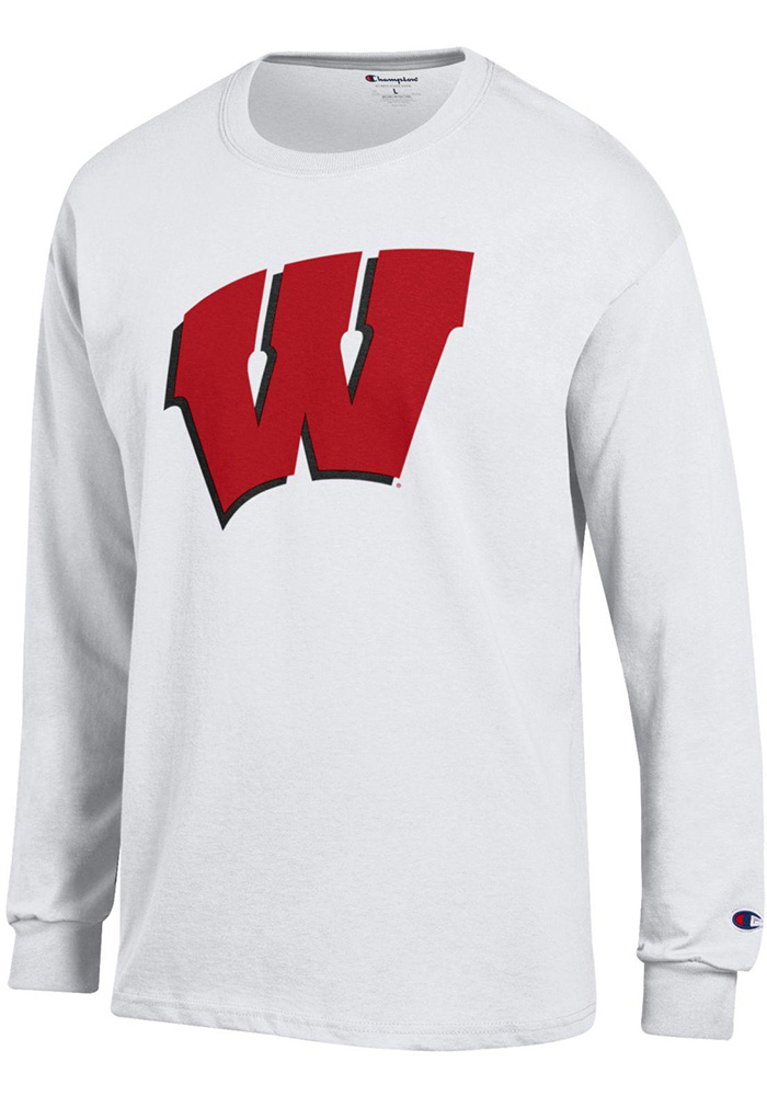 Champion Wisconsin Badgers White Primary Long Sleeve T Shirt - Image 1