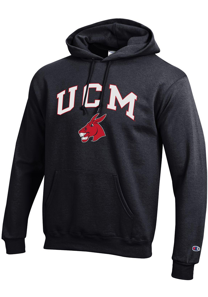 Champion Central Missouri Mules Mens Black Arch Mascot Long Sleeve Hoodie - Image 1