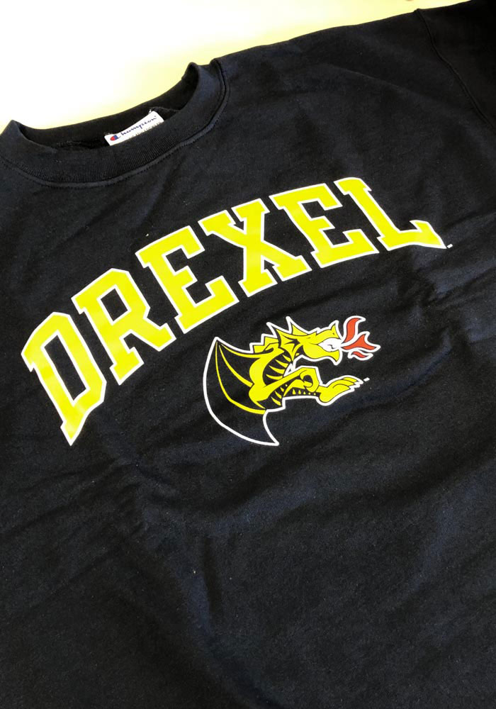 Champion Drexel Dragons Mens Navy Blue Arch Mascot Long Sleeve Crew Sweatshirt - Image 2
