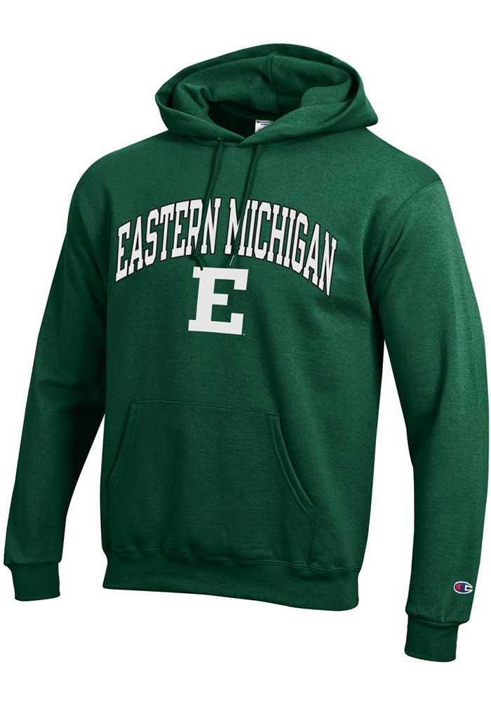 Champion Eastern Michigan Eagles Mens Green Arch Mascot Long Sleeve Hoodie - Image 1