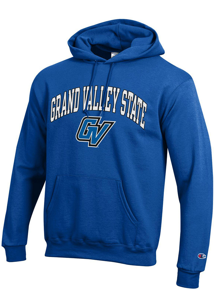 Champion Grand Valley State Lakers Mens Blue Arch Mascot Long Sleeve Hoodie - Image 1